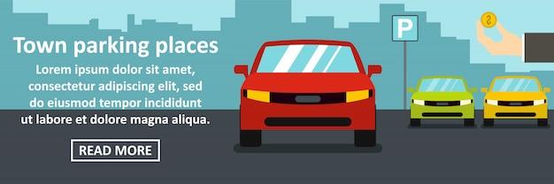 Miejskie miejsca parkingowe koncepcja pozioma transparentu