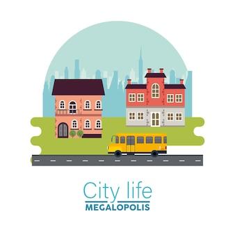 Miejskie życie megalopolis napis w scenie pejzażu z budynkami i ilustracją autobusu szkolnego
