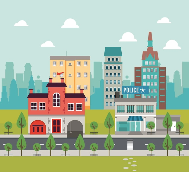 Miejskie życie megalopolis pejzaż miejski z ilustracją posterunku policji i budynków