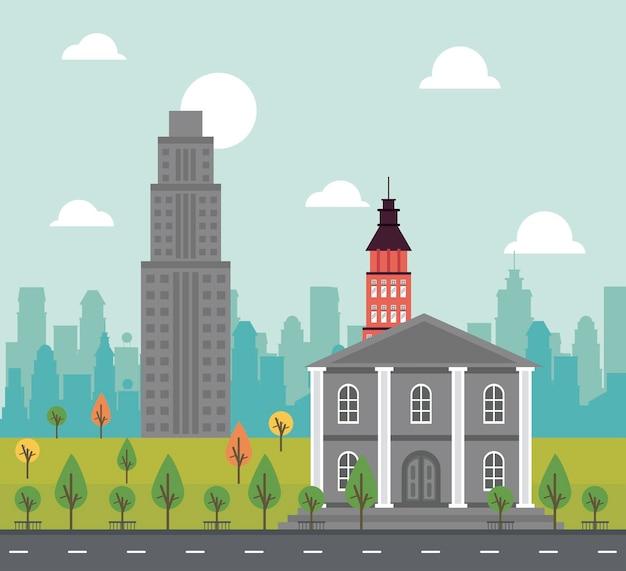 Miejskie życie megalopolis pejzaż miejski z rządowym budynkiem i ilustracją drapaczy chmur