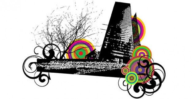 Miejskiego miasta z ornamentem wirować