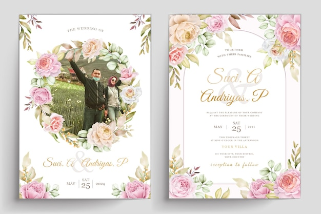 Miękka akwarelowa karta zaproszenie na kwiaty i liście