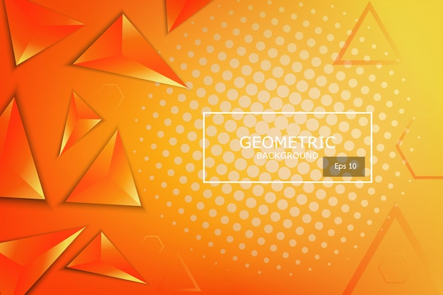 Miękka i ciemnopomarańczowa z żółtym abstrakcyjnym gradientem geometrycznych kształtów tła, lśniąca i gładka z futurystycznym i nowoczesnym szablonem