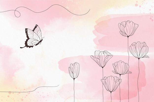 Miękka pastelowa tapeta w kwiaty
