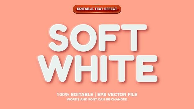 Miękki, biały, wytłoczony, edytowalny styl efektu tekstowego 3d