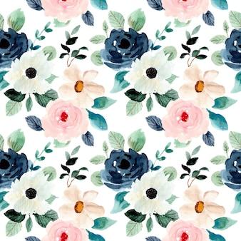 Miękki bujny kwiatowy wzór akwarela