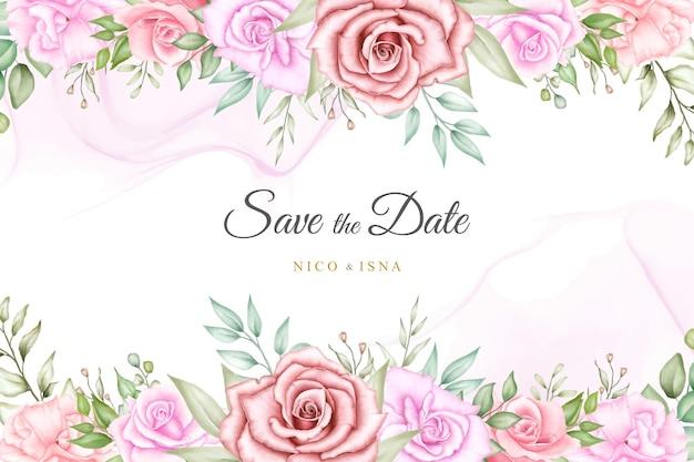Miękki elegancki projekt zaproszenia ślubnego z akwarelą kwiatową i liśćmi