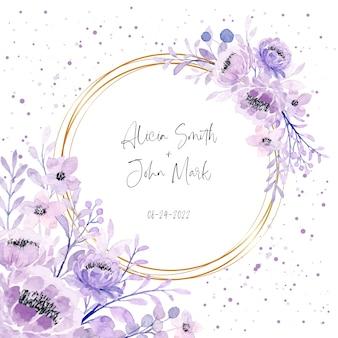 Miękki fioletowy kwiatowy akwarela ramka z kropkami