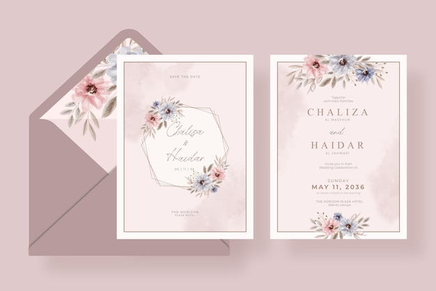 Miękki kwiatowy akwarela zaproszenie na ślub szablon