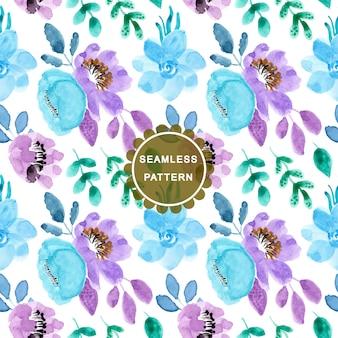 Miękki niebieski fioletowy wzór akwarela kwiat