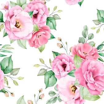 Miękki różowy akwarela kwiatowy wzór