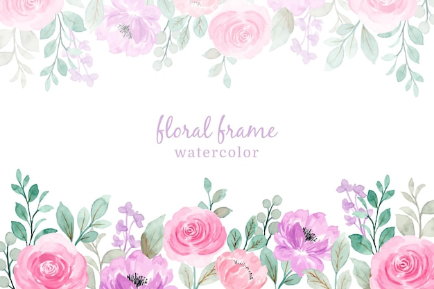 Miękki różowy fioletowy akwarela kwiatowy rama