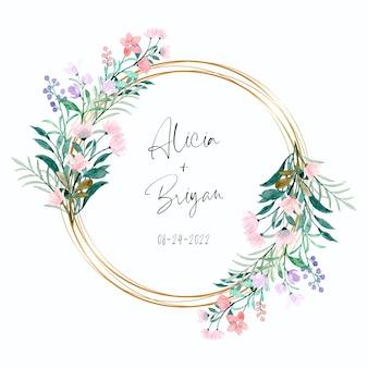 Miękki różowy fioletowy dziki kwiat ze złotą ramką