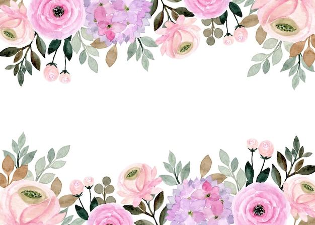 Miękki różowy fioletowy kwiatowy akwarela rama