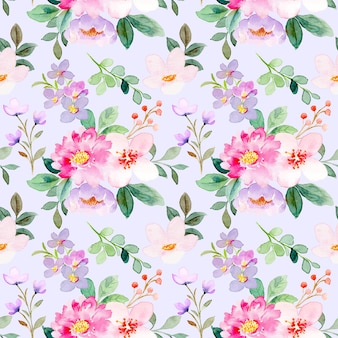 Miękki różowy fioletowy kwiatowy wzór akwarela bezszwowe