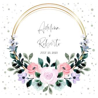 Miękki różowy fioletowy wieniec kwiatowy akwarela ze złotą ramą