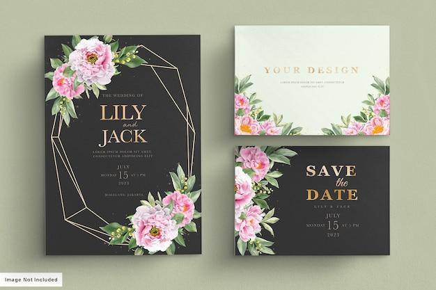 Miękki różowy zestaw kart ślubnych
