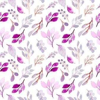 Miękkie fioletowe liście akwarela bezszwowe wzór