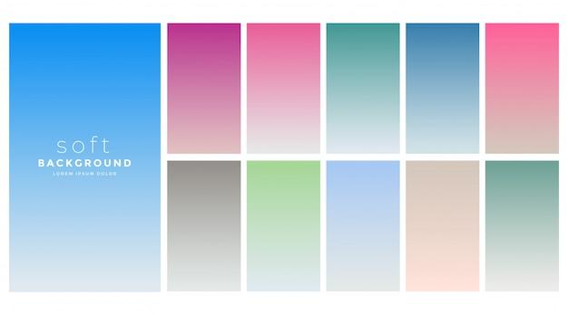 Miękkie gradienty kolorów zestaw próbek