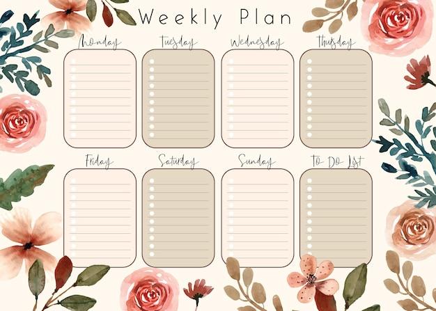 Miękkie kremowe kwiaty i szablon planu tygodniowego rozkwitu lista zadań do wykonania