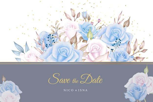 Miękkie niebieskie różowe róże akwarela karta zaproszenie na ślub