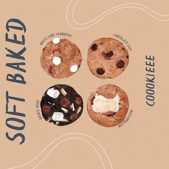 Miękkie pieczone ciasteczka, ręcznie rysować wektor kolor wody.