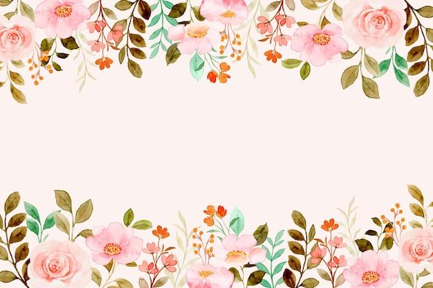 Miękkie różowe tło kwiatowe w ogrodzie z akwarelą