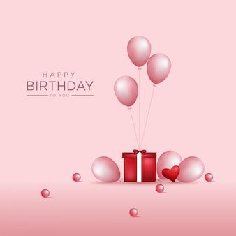 Miękkie różowe tło urodziny z realistycznymi balonami premium