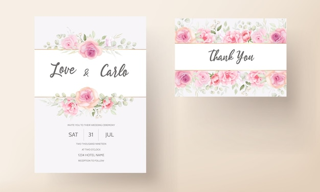 Miękkie różowe zaproszenie na ślub kwiatowy