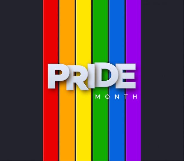 Miesiąc dumy lgbtq. ilustracja. biała księga etykiety na tle flagi tęczy. koncepcja praw człowieka lub różnorodności. projekt banera imprezy lgbt.