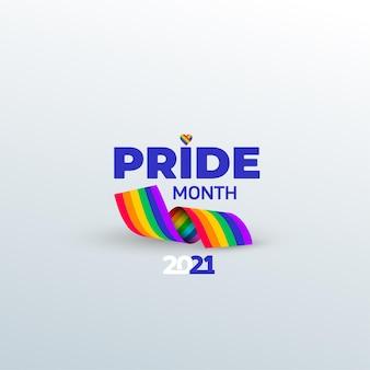 Miesiąc dumy. symbol wstążki tęczy. uroczystość wydarzenia miesiąca dumy wektor na białym tle.