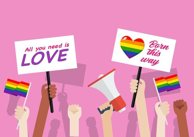 Miesiąc dumy. tłum ludzi w paradzie lgbtq. protest przeciwko dyskryminacji seksualnej. ilustracja wektorowa