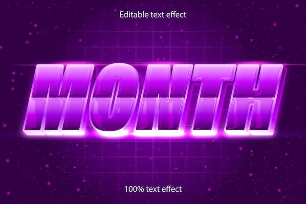 Miesiąc edytowalny efekt tekstowy retro w nowoczesnym stylu