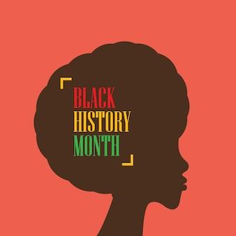 Miesiąc historii czarny z sylwetką afrykańskiej kobiety