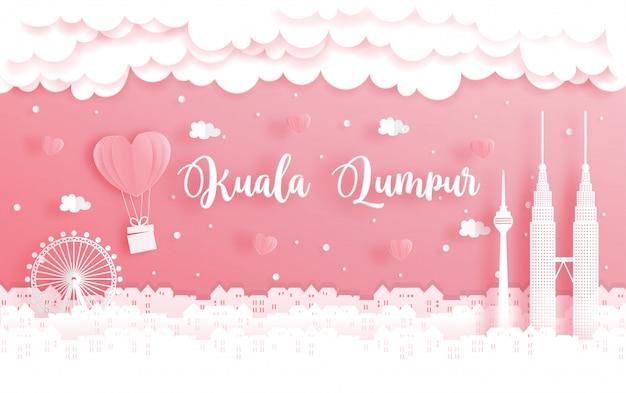 Miesiąc miodowy wycieczka i walentynka dzień karta z podróży pojęciem kuala lumpur, malezja