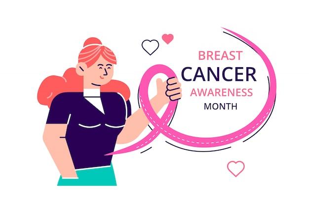 Miesiąc raka piersi z różową wstążką, międzynarodowy dzień raka piersi na całym świecie, kobiety obejmujące się wstążkami w trosce o raka piersi. ilustracja nowoczesny styl urządzony