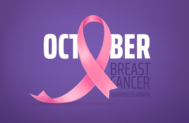 Miesiąc świadomości raka piersi. karta z różową jedwabną wstążką