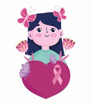 Miesiąc świadomości raka piersi kobieta kreskówka motyle w kwiatach głowy i sercu