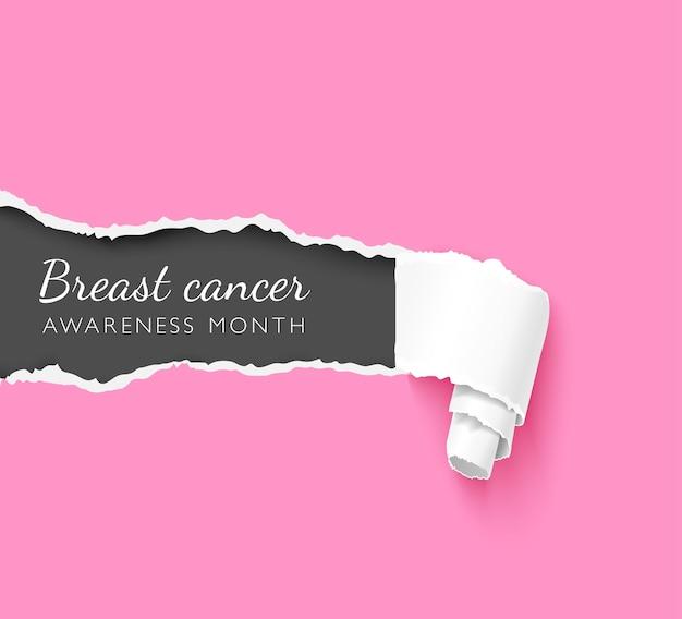 Miesiąc świadomości raka piersi kreatywny plakat szablon wektor. realistyczny rozdarty papier z napisem na różowym tle. zgrywanie krawędzi tekstury 3d. układ postu w mediach społecznościowych solidarności z chorobami onkologicznymi kobiet
