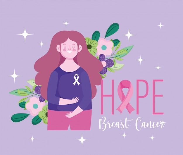 Miesiąc świadomości raka piersi mam nadzieję, że kobieta kwiaty liście wektor wzór i ilustracja