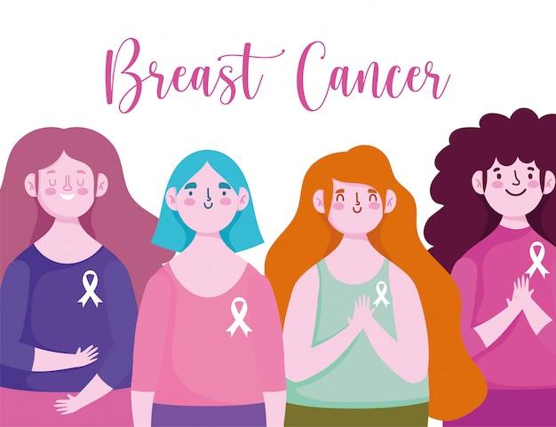 Miesiąc świadomości raka piersi młode kobiety ze wstążką na koszulowych postaciach wektor wzór i ilustracja