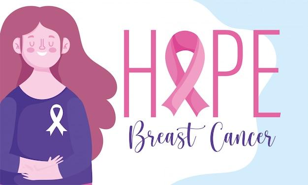 Miesiąc świadomości raka piersi nadzieję, że wstążka czcionki i kobieta wektor wzór i ilustracja
