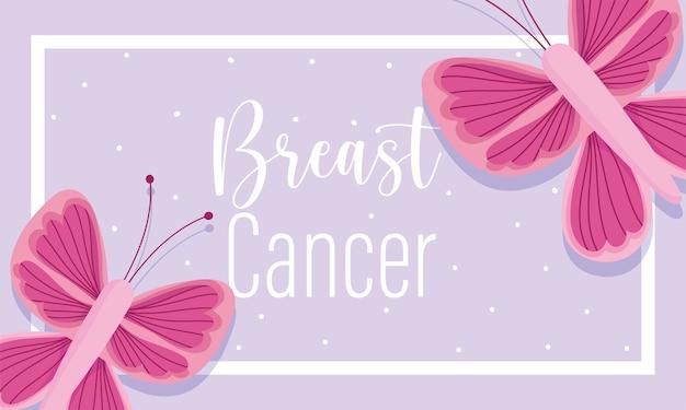 Miesiąc świadomości raka piersi różowe motyle kropki tło fioletowy sztandar