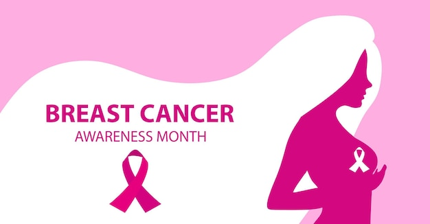 Miesiąc świadomości raka piersi. sylwetka kobiety sprawdza jej piersi szablon dla projektu plakatu, banera. ilustracja wektorowa