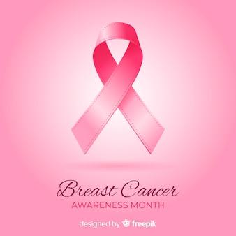 Miesiąc świadomości raka piersi z realistyczną wstążką