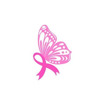 Miesiąc świadomości raka piersi z różową wstążką skrzydeł motyla dla kampanii wsparcia