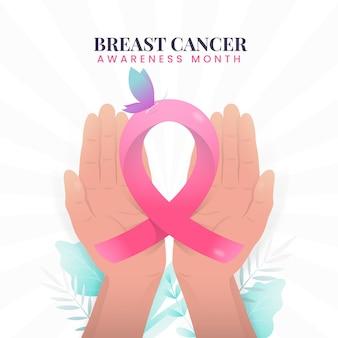 Miesiąc świadomości raka piersi ze wstążką