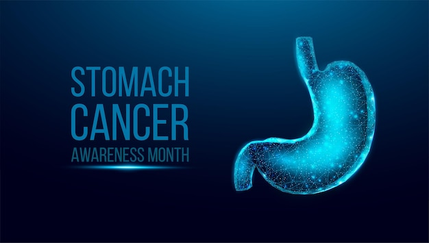 Miesiąc świadomości raka żołądka. model szkieletowy w stylu low poly. koncepcja medycyny, leczenia układu pokarmowego. streszczenie nowoczesne 3d wektor ilustracja na ciemnym niebieskim tle.