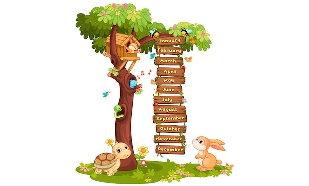 Miesiące roku ilustracji ze zwierzętami, drzewami i ptakami