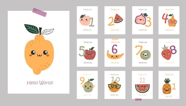 Miesięczne kartki dla dzieci z uroczymi owocami kawaii.